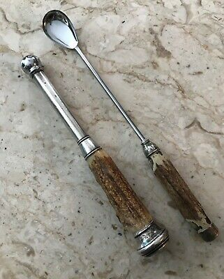 Antique Sterling Silver and Stag Handle Barware Muddler and Drink Stirring Spoon