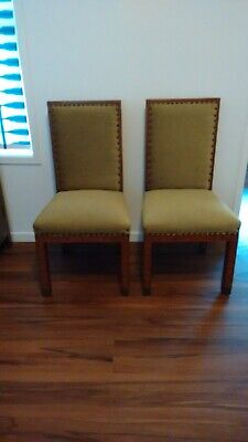 Pair (2) antique inlaid timber chairs, hand made metal fittings, green velvet