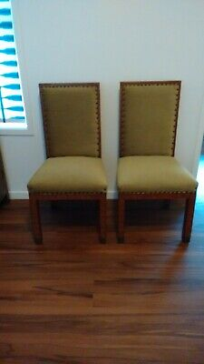 Pair (2) antique inlaid timber & velvet chairs, handmade bronze studs brass feet
