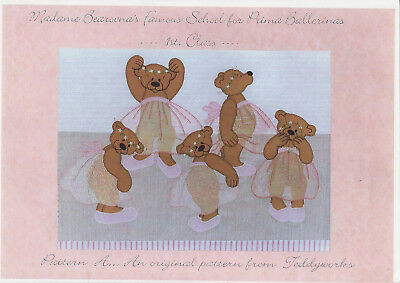 """PATCHWORK QUILTING APPLIQUE - """"Ballet Bears"""" with fabrics"""