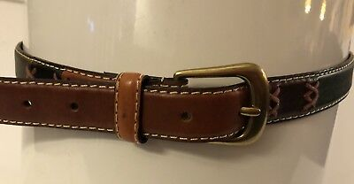 Relic Multicolored Geniune Leather Large Belt Solid Brass Buckle RL528199803