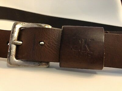 CK Jeans Solid Brown Geniune Leather Belt Distressed Silvertone Buckle 37-41