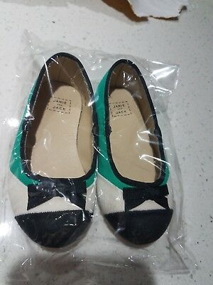 84c42da3e20bf Janie And Jack HOLIDAY Girls Shoes Size 4 black green white MARY JANE Slip  On