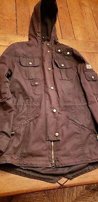 3accb1ec15 Womens BARBOUR Winter Force Parka Hooded Waxed Jacket Brown US 4 or 6 UK 10
