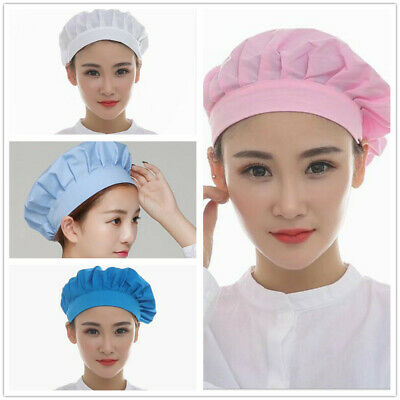 1PCS Men And Women Elastic Pink Light Blue White Blue Dustproof Kitchen Chef Cap
