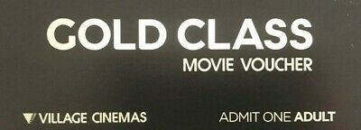 4 (Four) Adult Gold Class Movie tickets/vouchers -Expires 30 Mar 2020.