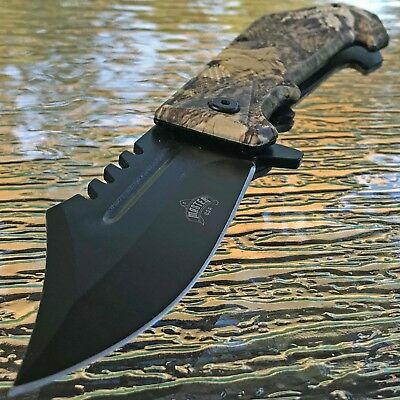 """MASTER 8.5"""" JUNGLE CAMO SPRING ASSISTED TACTICAL POCKET KNIFE Blade Assist Open"""
