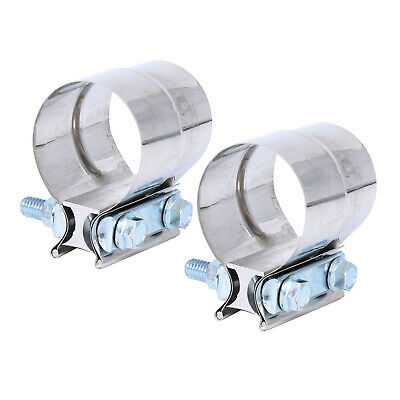 """2PCS 2/"""" Stainless Exhaust Band Clamp Step Clamps for Catback Exhausts T304"""