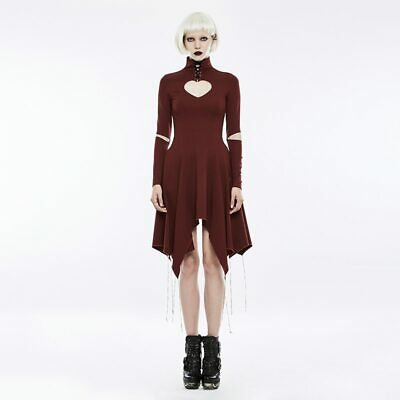 Gothic Heart Shape Breast Hollow Out Asymmetry Hem Laced Casual Women Dress