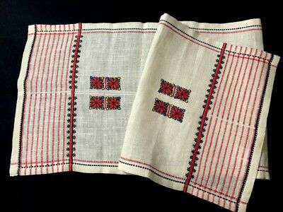 """Exceptional Russian Wedding Hand Embroidery Both Sides Tea Towel 38 1/2"""" x12"""""""