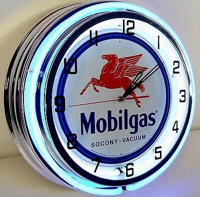 "18"" MOBIL Mobilgas Socony Vacuum Pegasus Sign Double Neon Wall Clock Gas Oil"