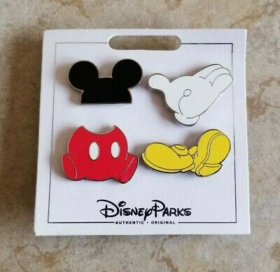 Disney Trading Pins Lot of 4 New Mickey Mouse Set Flair Ears Pants Glove Shoes
