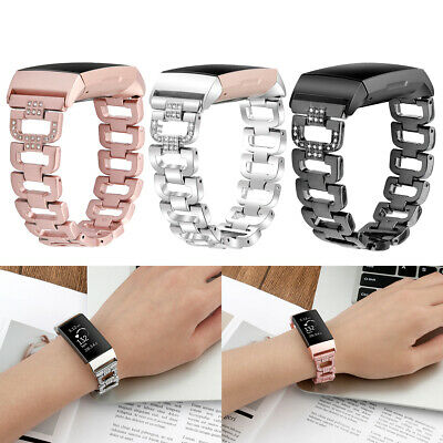 For Fitbit Charge 3 Replacement Rhinestone Metal Strap Wrist Watch Band Bracelet