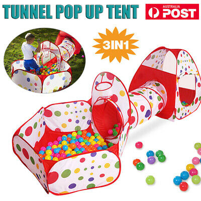 3 IN 1 Kids Toddlers Tunnel Pop Up Play Tent Cubby Playhouse Outdoor Indoor Toy