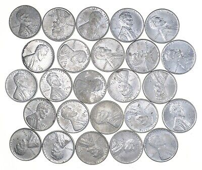 1/2 Roll 1943 Lincoln Wheat STEEL Cent - Beautiful Mostly BU Unc 25 Coins *682