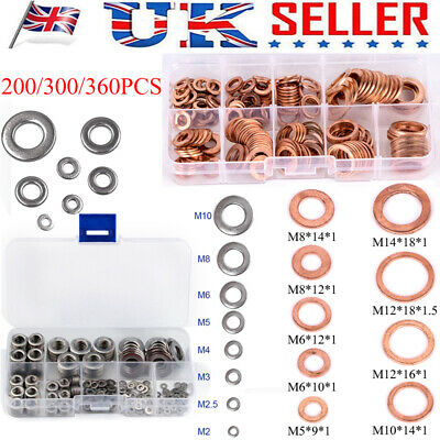 200/360X Copper/Stainless Steel Solid Flat Crush Washer Gasket Assortment Kit UK