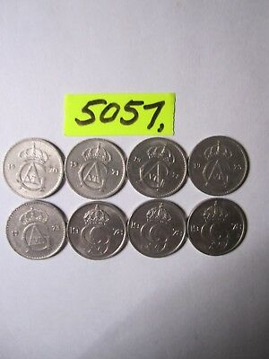 8 x 25 ore coins from Sweden      16  gms      Mar5057