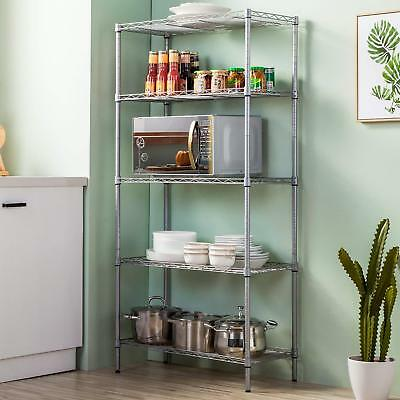 5-Shelf Steel Wire Tier Layer Shelving High Quality Holder Storage Rack Durable