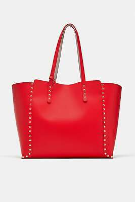 08429b03 ZARA REVERSIBLE STUDDED Tote Bag Red/Ivory New - $55.99 | PicClick