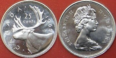 Brilliant Uncirculated 1965 Canada Silver 25 Cents From Mint's Roll