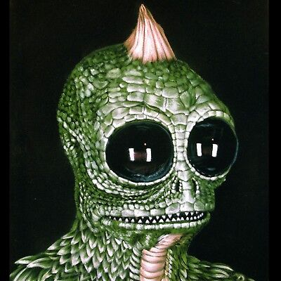 Sleestak Sleestack Land of the Lost Oil Painting black Velvet Sid Krofft J257x