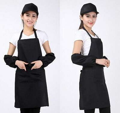 New Women Solid Cooking Kitchen Restaurant Bib Apron Dress with Pocket Gift