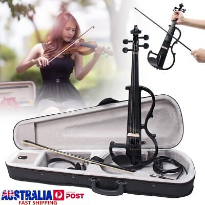 Black 4/4 Full Size Electric Violin Student Fiddle Case Bow Headphone Cable AU