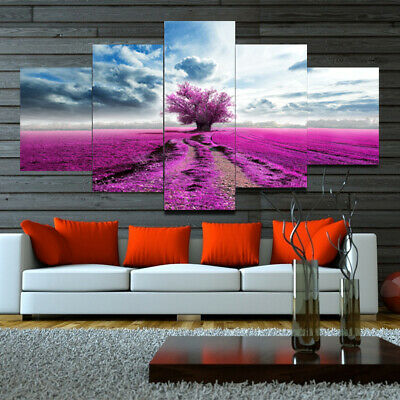 Natural Purple Tree Flower Field 5 Pieces Canvas Wall Home Decor Poster Artwork