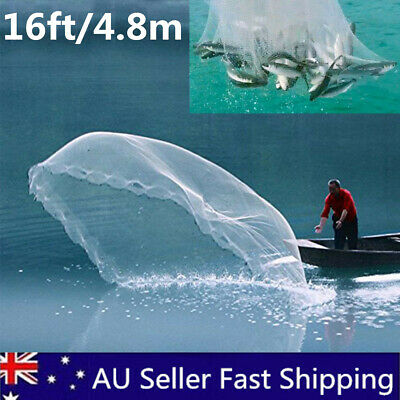16ft Large Hand Throw Fishing Net Spin Bait Casting Sinker Small Mesh Equipment