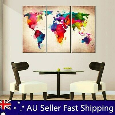 3Pcs Modern World Map Canvas Print Oil Painting Wall Art Picture Home Decor