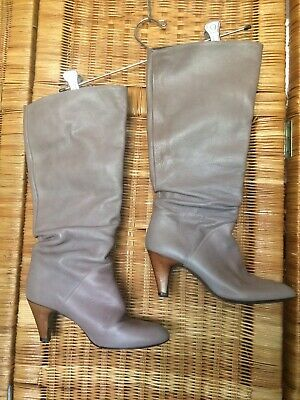 Zara Basic Collection Vintage 1970S Boots Leather Made In Spain