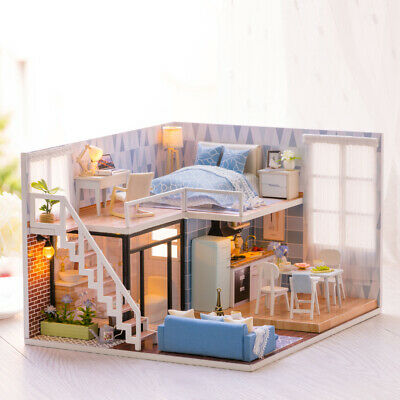 Handmade Kids Doll House Miniatures With Furniture & Staircase Fits DIY X1H1