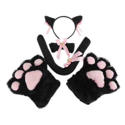 5Pcs/Set Cat Cosplay Costume Cat Tail Ears Collar Paws Gloves Set Cute JD