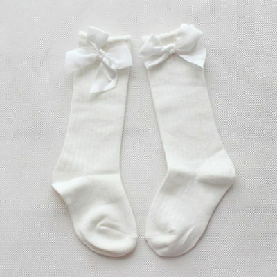 Infant Baby Girl Knee High Stockings Cotton Bow Knee Tight Ribbon Sock US