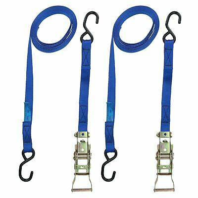 Blue Ratchet Strap Tie Down Trailer 4m Hook Cargo Strap 325kg Lashing x 2 (Pai