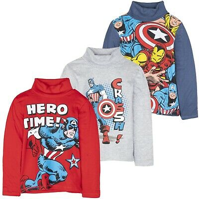 The Avengers Characters Boys Long Sleeve Top T-Shirt Turtle Neck Cotton 3-10 yrs
