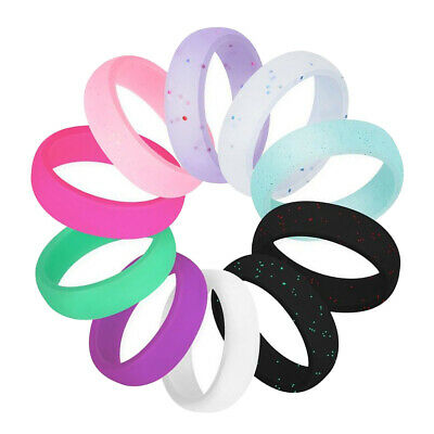 10x Colorful Silicone Ring Flexible Rubber Wedding Band for Men Women Gifts
