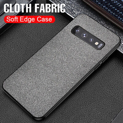 For Samsung Galaxy S10 S9 + Ultra Slim Cloth Fabric Case Shockproof Back Cover