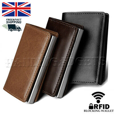 Men Antitheft Wallet RFID Blocking Pop-up Leather Card Holder Metal Purse Gift
