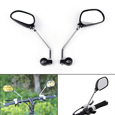 Bicycle Bike Mobility Scooter Handlebar Mirrors With Safety Reflector X1Pair ^F