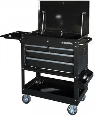 Husky Tool Cart >> Husky Tool Cart 4 Drawer Push Bar Side Handle Extended Side Table Wheel Locks