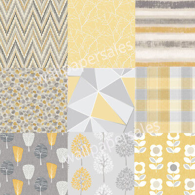 Mustard Yellow Wallpaper Various Designs Luxury geometric Check Modern Country