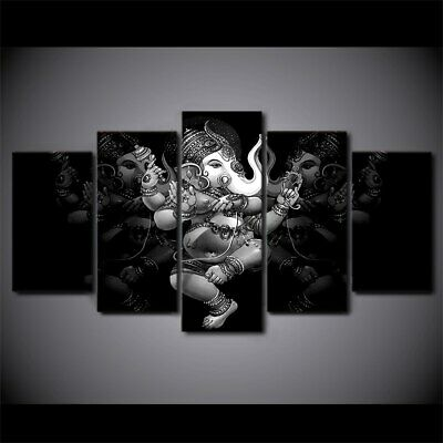 Hindu Ganesha God Monochrome 5 Pieces Canvas Wall Home Decor Poster Artwork