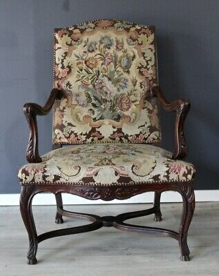 Antique French provincial vintage oak & floral tapestry fauteuil arm chair