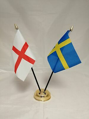 Sweden with England Deluxe Double Table Flag Plastic Polyester Gold Base