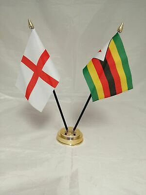 Barbados with England Deluxe Double Table Flag Plastic Polyester Gold Base