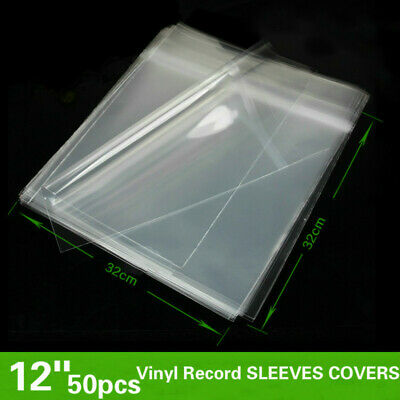 """50pcs 12"""" LP Vinyl Record Sleeves Covers Album Outer Plastic Anti-Static Clear"""