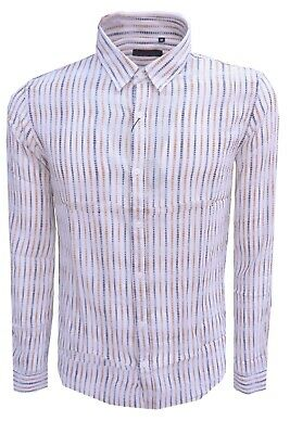 Camicia uomo Casual con Colletto righe cotone slim Fit stylish clothing s-m-l-xl