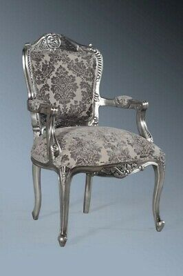 Statement Large Antique Silver Gilt Grey French Louis Throne Carver Arm Chair
