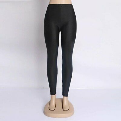 Trendy Women Leggings Fluorescent Trousers Shiny Glossy Stretchy Pant Casual TOP